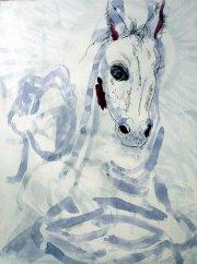 Entstehung Nietzsche und das Kutschpferd - 80 x 60 cm (c) Zeichnung auf Leinwand von Susanne Haun