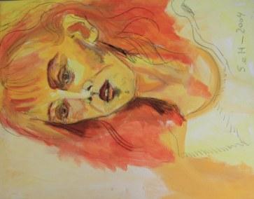 Selbstportrait 2004 - 70 x 100 cm - Acryl und Ölkreide auf Leinwand (c) Susanne Haun