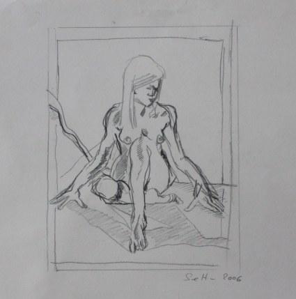 Akt - 20 x 20 cm - Bleistift auf Bütten 2006 (c) Zeichnung von Susannne Haun