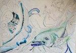 Dantes Barke der Wellen und Wogen – 70 x 50 cm (c) Zeichnung auf Leinwand von Susanne Haun