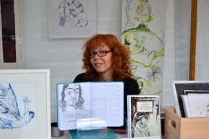 Auch der Philosophiekalender mit Arbeiten von Susanne Haun ist mit auf dem Weddingmarkt 3. Juli 2016 (c) Foto von M.Fanke
