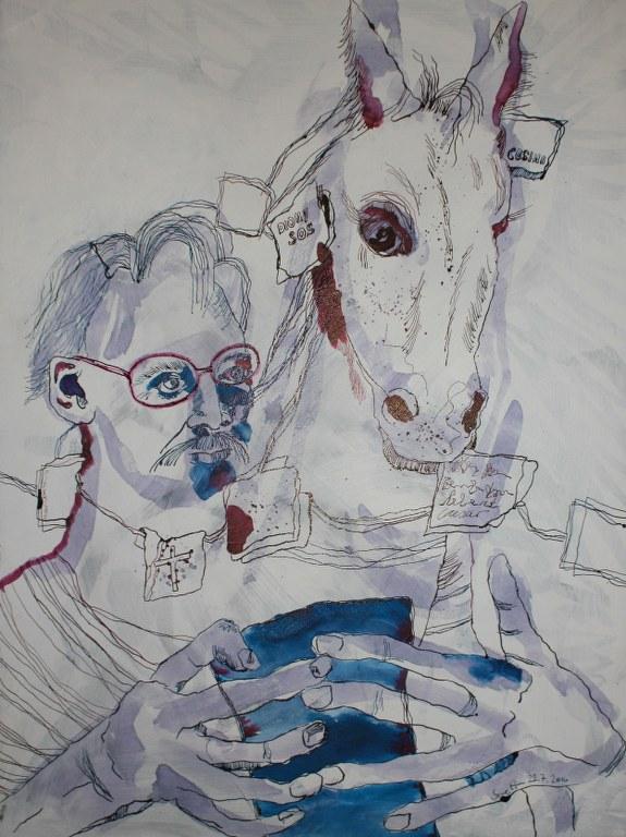 Nietzsche und das Kutschpferd - 80 x 60 cm (c) Zeichnung auf Leinwand von Susanne Haun