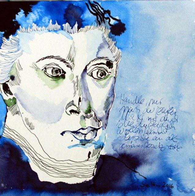 Immanuel Kant - 25,4 x 25,4 cm - Tusche auf Hahnemühle Aquarellkarton (c) sinnbildnerische Zeichnung von Susanne Haun