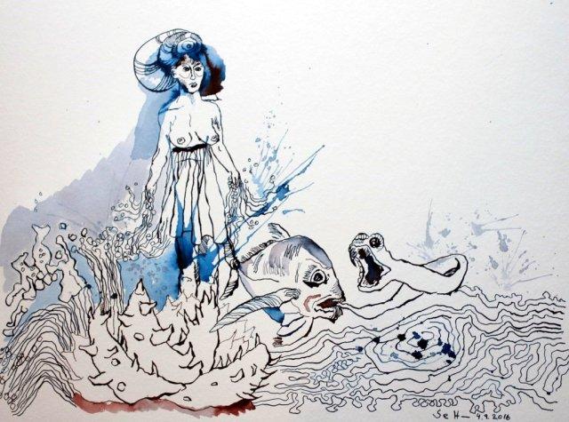 Die besänftigte Sedna - 30 x 40 cm - Tusche auf Aquarellkarton Britannia (c) Zeichnung von Susanne Haun