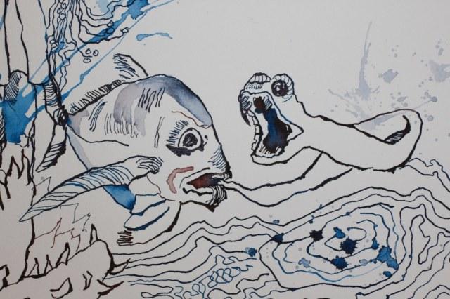 Detail -  Die besänftigte Sedna - 30 x 40 cm - Tusche auf Aquarellkarton Britannia (c) Zeichnung von Susanne Haun