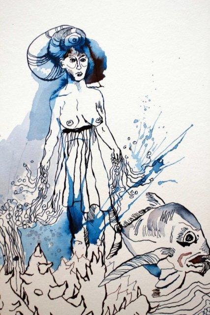 Detail - Die besänftigte Sedna - 30 x 40 cm - Tusche auf Aquarellkarton Britannia (c) Zeichnung von Susanne HaunDetail - Die besänftigte Sedna - 30 x 40 cm - Tusche auf Aquarellkarton Britannia (c) Zeichnung von Susanne Haun