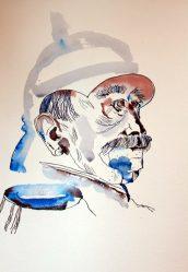 Entstehung Portrait Bismarck - Version 2 - 40 x 30 cm - Tusche auf Aquarellkarton Britannia (c) Zeichnung von Susanne Haun