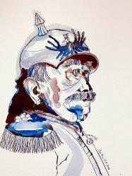Portrait Bismarck - Version 2 - 40 x 30 cm - Tusche auf Aquarellkarton Britannia (c) Zeichnung von Susanne Haun