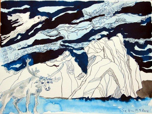 8 Ein Silaaq wie ein Karibu - 30 x 40 cm - Tusche auf Aquarellkarton Britannia (c) Zeichnung von Susanne Haun