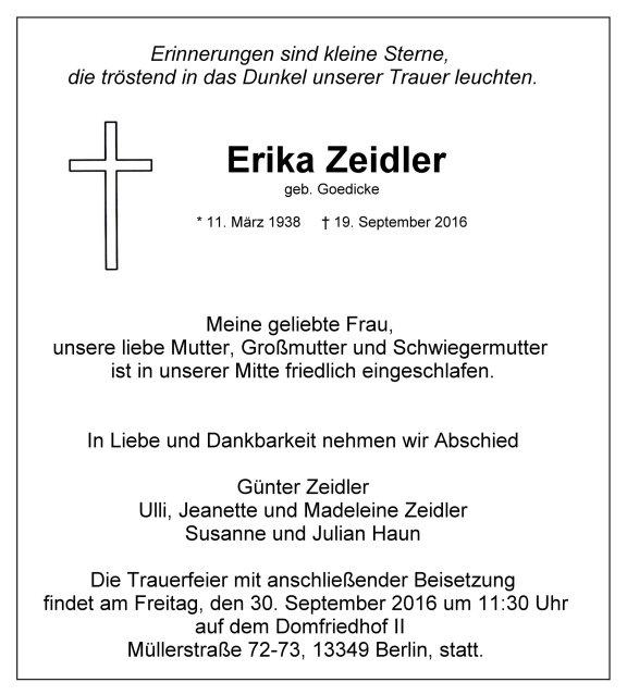 Traueranzeige Erika Zeidler geb. Goedicke