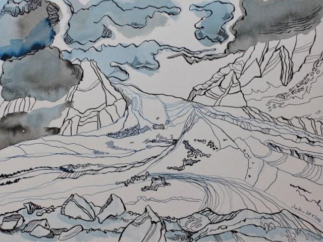 Der Klang des Windes - 30 x 40 cm - Tusche auf Aquarellkarton (c) Zeichnung von Susanne Haun