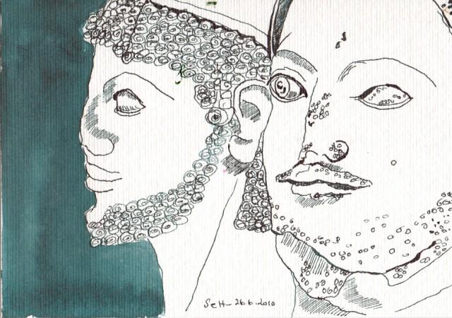 Susanne Haun, Quergeblickt, 1010, Tusche auf Aquarellkarton, 17 x 22 cm