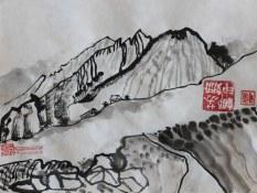 Alpen im Stil chinesischer Tuschezeichnung (c) Zeichnung von Susanne Haun