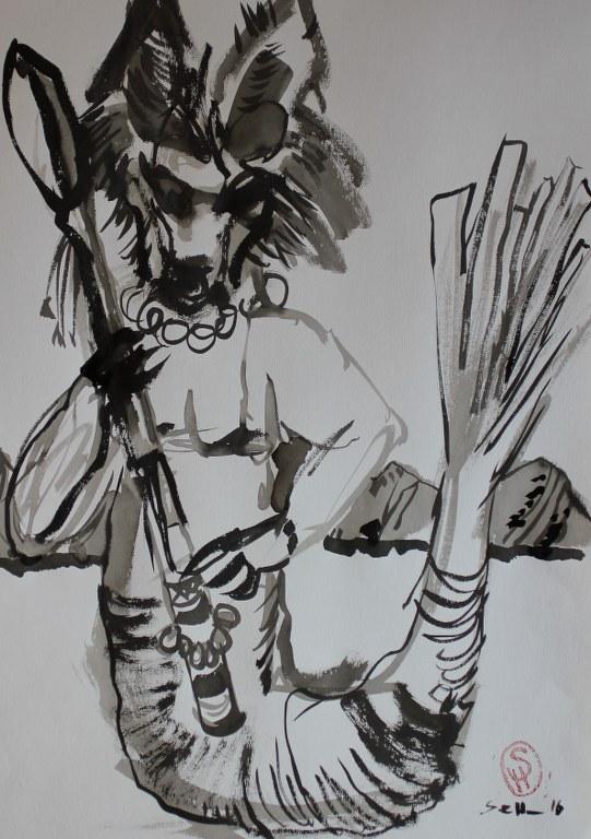 Hundemann - Version 1 - 70 x 50 cm (c) Zeichnung von Susanne Haun