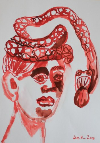 4 Weisse Schlange - Tusche auf Bütten - 70 x 50 cm (c) Zeichnung von Susanne Haun