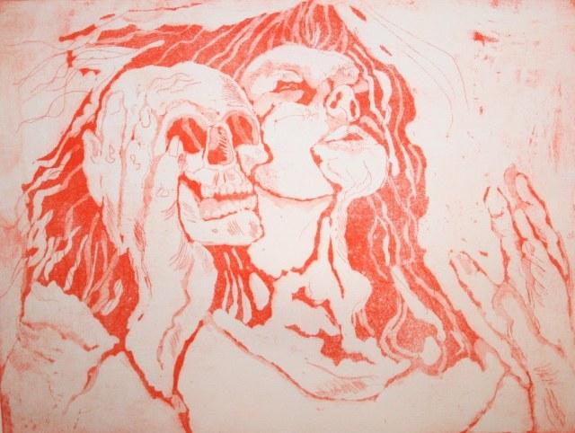 Der Tod und ich - 30 x 40 cm (c) Radierung von Susanne Haun