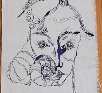 Detail abstrakte Naturform 144 x 33 cm (c) Zeichnung auf Leinwand von Susanne Haun