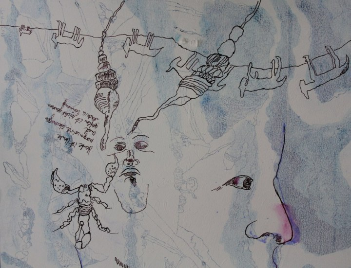Entstehung der Erinnerung im Gestern - 60 x 80 cm - Tusche auf Leinwand (c) Zeichnung von Susanne Haun