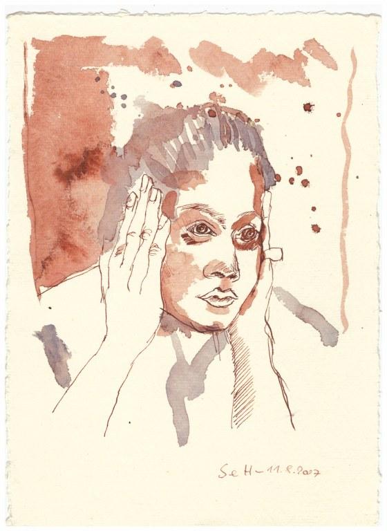 6 Weihnachtsangebot Frau - ojeoje (c) Zeichnung von Susanne Haun