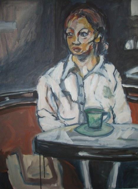 Beim Kaffee - 50 x 70 cm - Acryl auf Leinwand - April 2007 (c) Susanne Haun
