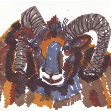 Flächiger Widder - 7. Schritt (c) Zeichnung von Susanne Haun