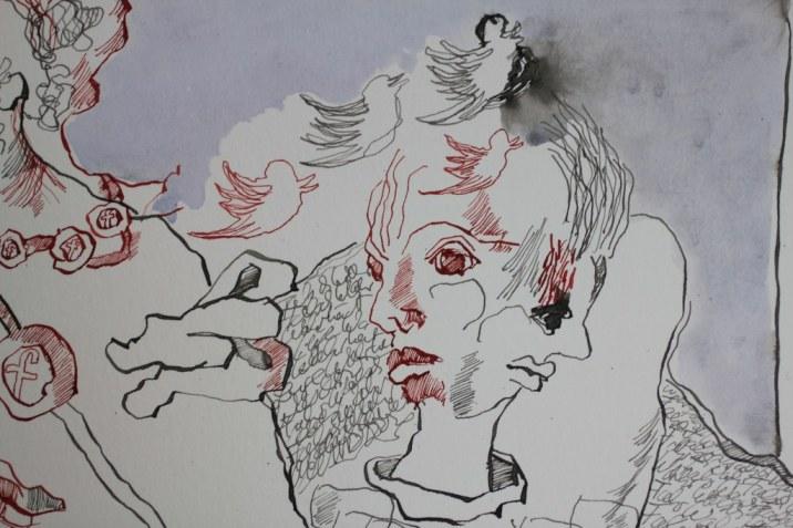 2 Detail - Wahr oder Falsch - Postfaktisch - 20 x 60 cm (c) Zeichnung von Susanne Haun