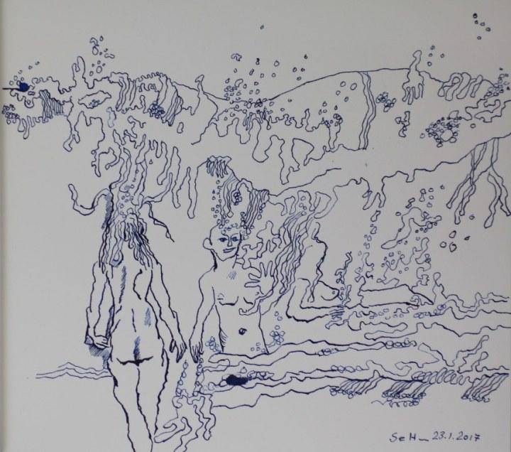 1 Alleine durch das Wasser - 30 x 35 cm - Tusche auf Aquarellkarton (c) Zeichnung von Susanne Haun