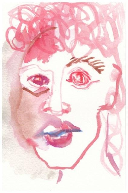 1 Selbst mit Schmincke Aquarellfarben (c) Zeichnung von Susanne Haun
