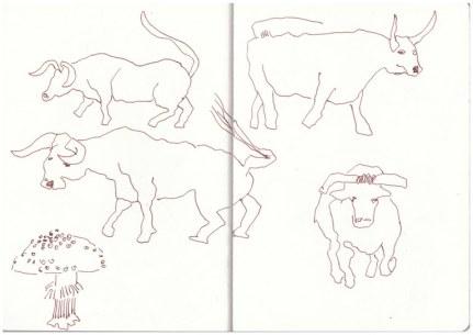 2 Bleigiessen Stiere und Pilze (c) Zeichnung von Susanne Haun