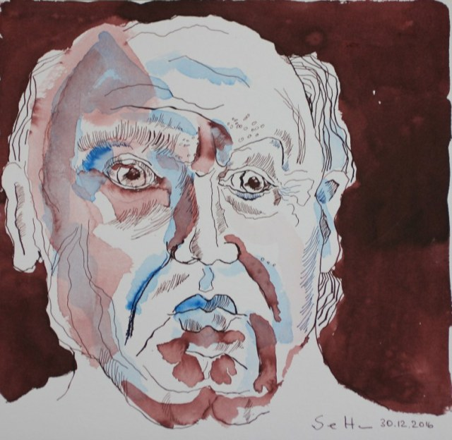 2 Meine Vorstellung von Seneca - Blau - Version 1 - 25 x 25 cm (c) Zeichnung von Susanne Haun