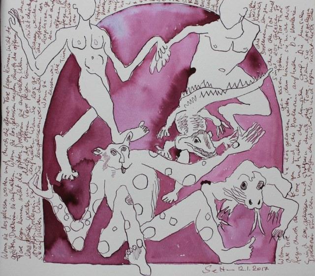 Wenn sie durch die offenen Tore fegen - 30 x 35 cm - Tusche auf Aquarellkarton (c) Zeichnung von Susanne Haun