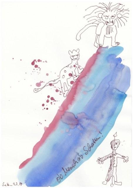 # 1-2 Dante Alighieri Entrada - Ob Mensch of Schatten - 20 x 30 cm - Tusche und Aqaurell auf Skizzenpapier (c) Zeichnung von Susanne Haun(2)