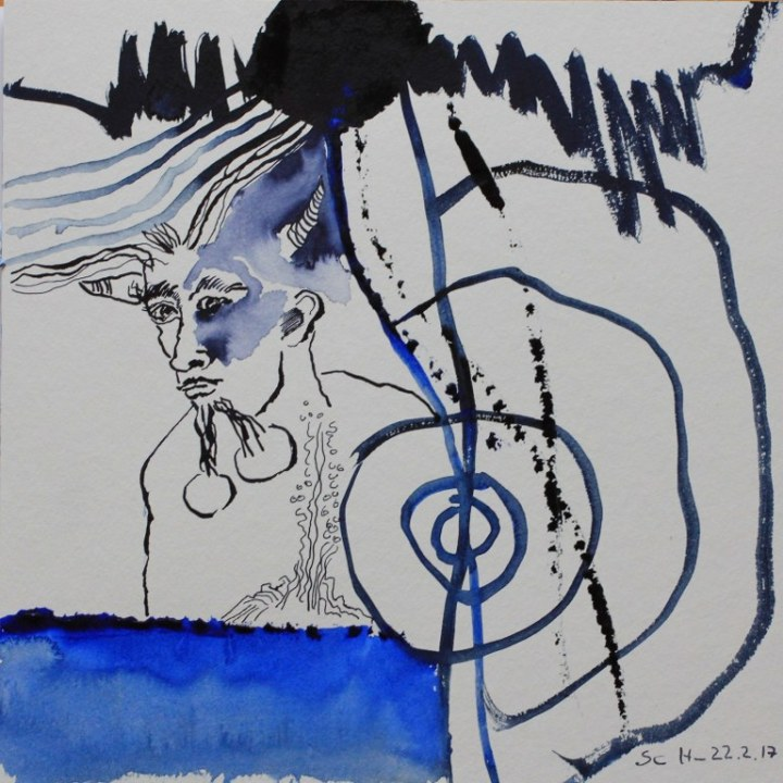 1 Der Pechsee des Teufels - 25 x 25 cm - Tusche und Aquarell auf Karton (c) Zeichnung von Susanne Haun