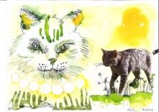 1 Katze - 30 x 40 cm - Tusche auf Bütten (c) Zeichnung - Collage von Susanne Haun (1)