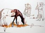 1 Pferd mit Bauern - 30 x 40 cm - Tusche auf Bütten (c) Zeichnung - Collage von Susanne Haun