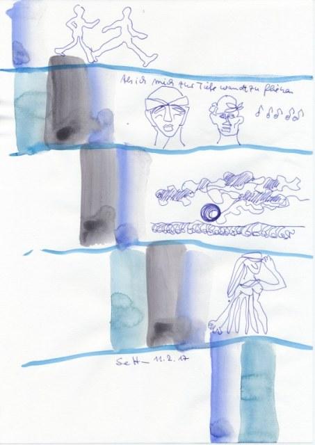 #2-1 Als ich mich zur Tiefe wandt, zu fliegen - 20 x 30 cm - Tusche auf Zeichenpapier (c) Zeichnung von Susanne Haun
