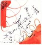 2 Der Pechsee des Teufels - 15 x 15 cm cm - Tusche und Aquarell auf Bütten (c) Zeichnung von Susanne Haun