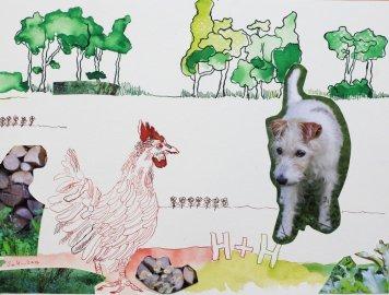 2 Hahn und Hund - Cover – 30 x 40 cm – Tusche auf Bütten (c) Zeichnung – Collage von Susanne Haun