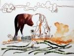 2 Pferd - 30 x 40 cm - Tusche auf Bütten (c) Zeichnung - Collage von Susanne Haun