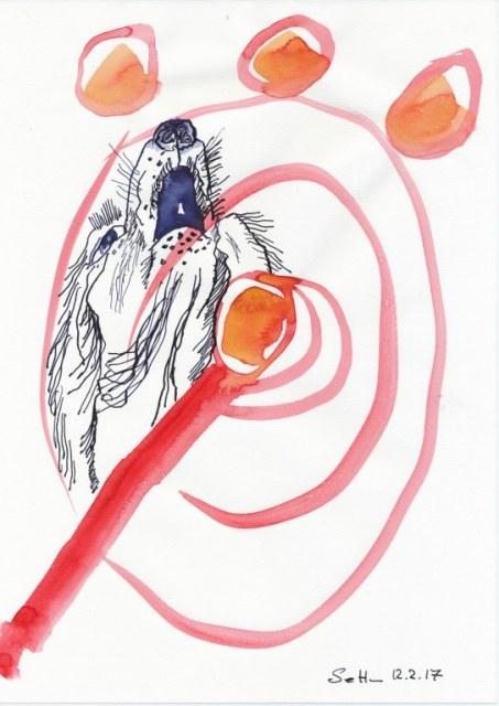 #3-3 Zerberus - 20 x 30 cm - Tusche und Aquarell auf Zeichenpapier (c) Zeichnung von Susanne Haun