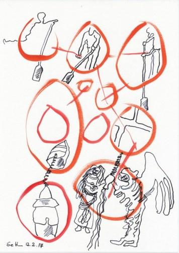 #3-5 Der Fährmann - 20 x 30 cm - Tusche und Aquarell auf Zeichenpapier (c) Zeichnung von Susanne Haun