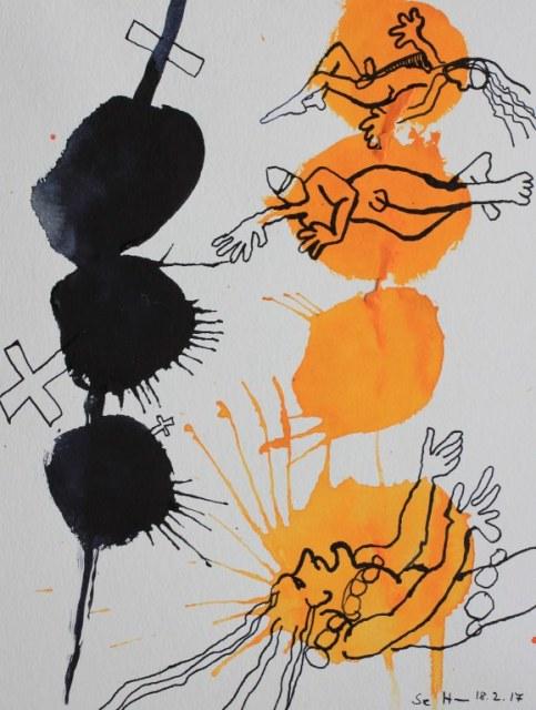 3 Das sind die Ketzergräben samt den Jüngern - 32 x 24 cm - Tusche auf Aquarellkarton (c) Zeichnung von Susanne Haun