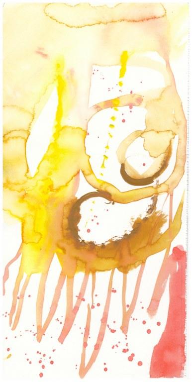 3 Farben - Dessen Füsse er mit Eisenzange kopfüber hielt - Tusche und Aquarell auf Büttenpapier - Version 2 (c) Zeichnung von Susanne Haun