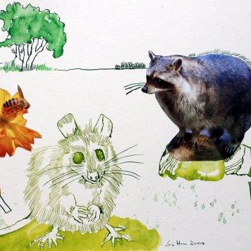 3 Maus – 30 x 40 cm – Tusche auf Bütten (c) Zeichnung – Collage von Susanne Haun