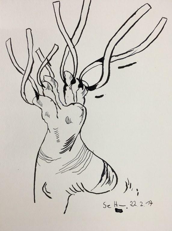 5 Dessen Füsse er mit Eisenzange kopfüber hielt - Tusche und Aquarell auf Büttenpapier - Version 3 (c) Zeichnung von Susanne Haun
