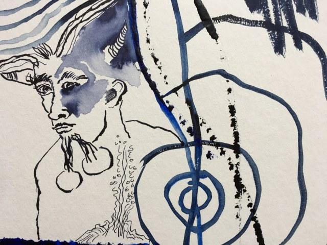 1 Der Pechsee des Teufels -Ausschnitt - 25 x 25 cm - Tusche und Aquarell auf Karton (c) Zeichnung von Susanne Haun