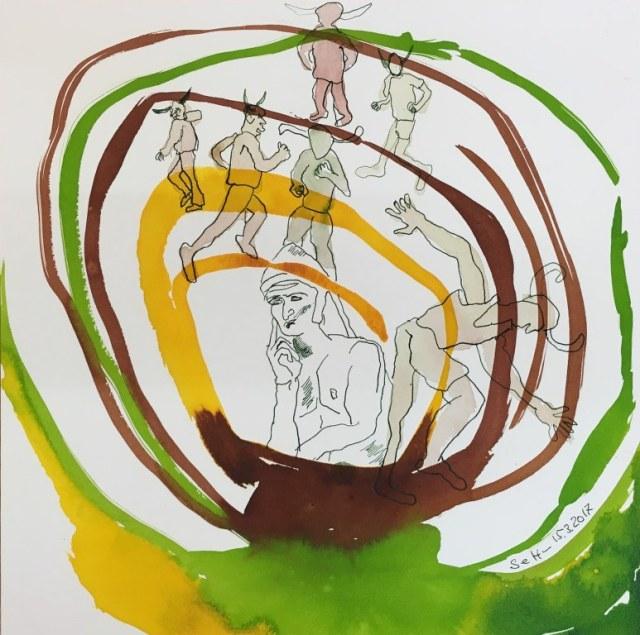 Schon wandte sich der Denker aufwärts - Dante - 25 x 25 cm - Tusche und Aquarell auf Bütten (c) Zeichnung von Susanne Haun