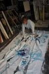 16 Details der Schnitt- Arbeiten an - recto und verso - Leinwand - 256 x 150 cm (c) Zeichnung von Susanne Haun