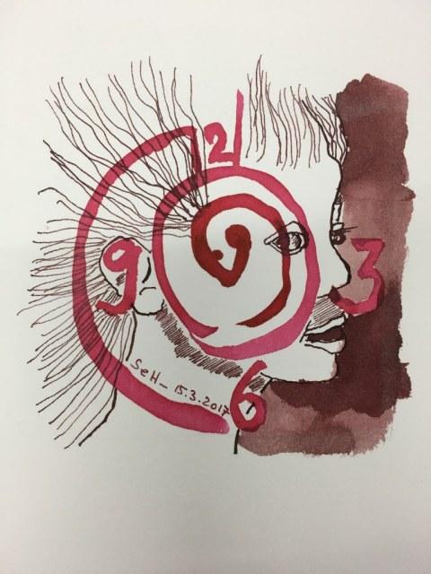 Es war die Stunde, die das Heimweh lehrt - 10 x 10 cm - Tusche und Aquarell auf Bütten (c) Zeichnung von Susanne Haun