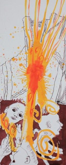 Herrscht im Abgrund keine Ordnung mehr - Dante - 50 x 20 cm - Tusche und Aquarell auf Bütten (c) Zeichnung von Susanne Haun